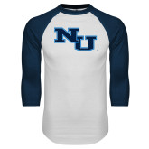 White/Navy Raglan Baseball T Shirt-NU Athletic Mark