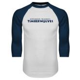 White/Navy Raglan Baseball T Shirt-Northwood University Timberwolves Wordmark
