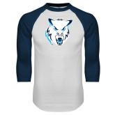 White/Navy Raglan Baseball T Shirt-Timberwolf Head