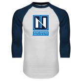 White/Navy Raglan Baseball T Shirt-Institutional Mark Vertical