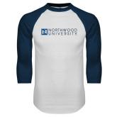 White/Navy Raglan Baseball T Shirt-Institutional Mark Horizontal