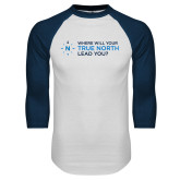 White/Navy Raglan Baseball T Shirt-Where Will Your True North Lead You