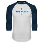 White/Navy Raglan Baseball T Shirt-True North