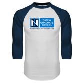 White/Navy Raglan Baseball T Shirt-DeVos Graduate School