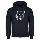 Navy Fleece Hoodie-Timberwolf Head