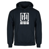 Navy Fleece Hoodie-Institutional Mark Vertical