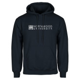 Navy Fleece Hoodie-Institutional Mark Horizontal