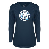 Ladies Syntrel Performance Navy Longsleeve Shirt-Primary Athletic Mark