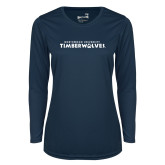 Ladies Syntrel Performance Navy Longsleeve Shirt-Northwood University Timberwolves Wordmark