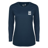 Ladies Syntrel Performance Navy Longsleeve Shirt-Institutional Mark Vertical