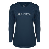 Ladies Syntrel Performance Navy Longsleeve Shirt-Institutional Mark Horizontal