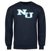 Navy Fleece Crew-NU Athletic Mark