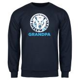 Navy Fleece Crew-Grandpa with Athletic Mark