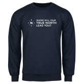 Navy Fleece Crew-Where Will Your True North Lead You