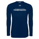 Under Armour Navy Long Sleeve Tech Tee-Northwood University Timberwolves Wordmark