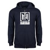 Navy Fleece Full Zip Hoodie-Institutional Mark Vertical