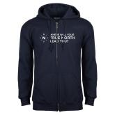 Navy Fleece Full Zip Hoodie-Where Will Your True North Lead You