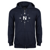 Navy Fleece Full Zip Hoodie-North Compass
