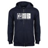 Navy Fleece Full Zip Hoodie-DeVos Graduate School