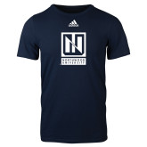 Adidas Navy Logo T Shirt-Institutional Mark Vertical