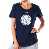 Ladies Under Armour Navy Charged Cotton Tee-Primary Athletic Mark