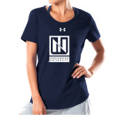 Ladies Under Armour Navy Charged Cotton Tee-Institutional Mark Vertical
