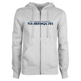 ENZA Ladies White Fleece Full Zip Hoodie-Northwood University Timberwolves Wordmark