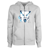 ENZA Ladies White Fleece Full Zip Hoodie-Timberwolf Head