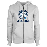ENZA Ladies White Fleece Full Zip Hoodie-Alumni with Athletic Mark