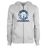 ENZA Ladies White Fleece Full Zip Hoodie-Grandma with Athletic Mark