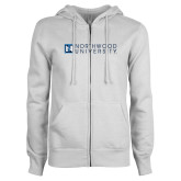 ENZA Ladies White Fleece Full Zip Hoodie-Institutional Mark Horizontal