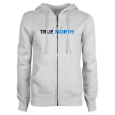 ENZA Ladies White Fleece Full Zip Hoodie-True North