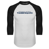 White/Black Raglan Baseball T Shirt-Northwood University Timberwolves Wordmark