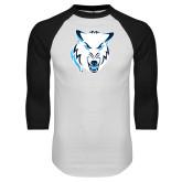 White/Black Raglan Baseball T Shirt-Timberwolf Head