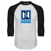 White/Black Raglan Baseball T Shirt-Institutional Mark Vertical