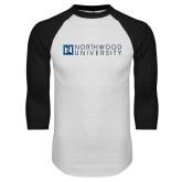 White/Black Raglan Baseball T Shirt-Institutional Mark Horizontal