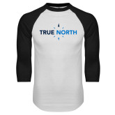 White/Black Raglan Baseball T Shirt-True North
