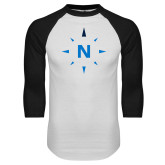 White/Black Raglan Baseball T Shirt-North Compass