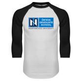 White/Black Raglan Baseball T Shirt-DeVos Graduate School