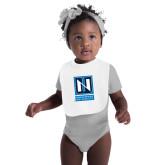 White Baby Bib-Institutional Mark Vertical