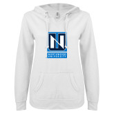 ENZA Ladies White V Notch Raw Edge Fleece Hoodie-Institutional Mark Vertical