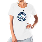 Ladies Under Armour White Charged Cotton Tee-Primary Athletic Mark