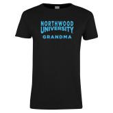 Ladies Black T Shirt-Grandma with Northwood University Arched