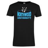 Ladies Black T Shirt-Timberwolf Head over Northwood University