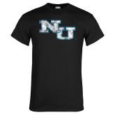 Black T Shirt-NU Athletic Mark Distressed