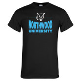 Black T Shirt-Timberwolf Head over Northwood University