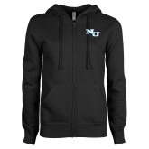 ENZA Ladies Black Fleece Full Zip Hoodie-NU Athletic Mark
