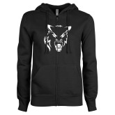 ENZA Ladies Black Fleece Full Zip Hoodie-Timberwolf Head