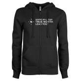ENZA Ladies Black Fleece Full Zip Hoodie-Where Will Your True North Lead You