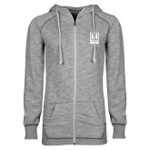 ENZA Ladies Grey/Black Marled Full Zip Hoodie-Institutional Mark Vertical